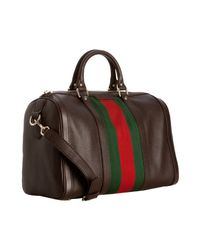Gucci | Brown Cocoa Leather Vintage Web Boston Bag | Lyst