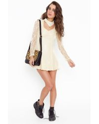 Nasty Gal - Natural Lace Choker Dress - Lyst