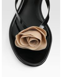 Valentino - Black Rose Jelly Thong Sandals - Lyst