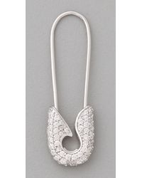 Tom Binns   Metallic Bejeweled Small Pave Safety Pin Earrings   Lyst