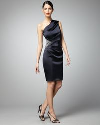David Meister | Black Side-beaded One-shoulder Cocktail Dress | Lyst
