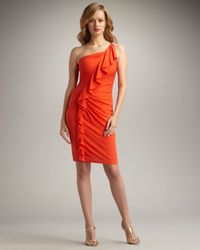 David Meister | Orange One-shoulder Ruffled Cocktail Dress | Lyst