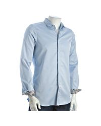 Paul Smith | Ice Blue Cotton Squared Collar Hidden Placket Button Front Shirt for Men | Lyst