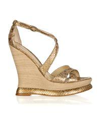 Alexandre Birman | Metallic Crisscross Strappy Python Sandal | Lyst