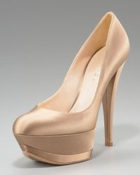 Casadei - Natural Satin Triple-platform Pump - Lyst