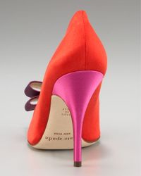 kate spade new york - Purple Latrice Colorblock Satin Pump - Lyst