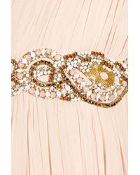 Marchesa - Pink Embellished One-shoulder Silk-chiffon Gown - Lyst