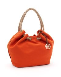 MICHAEL Michael Kors | Orange Large Marina Shoulder Tote | Lyst