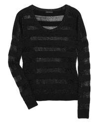 Theory | Black Iana Striped Cashmere-Blend Sweater | Lyst