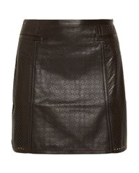 Tibi | Brown Perforated Leather Skirt | Lyst