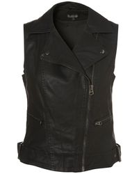 TOPSHOP - Black Sleeveless Pu Biker - Lyst