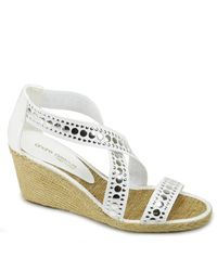 Andre Assous | Alicia - White Leather Studded Wedge | Lyst