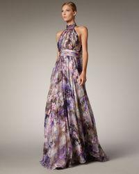Badgley Mischka - Purple Halter-neck Printed Gown - Lyst