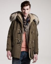 Balmain | Green Fur-trim Toggle Coat for Men | Lyst