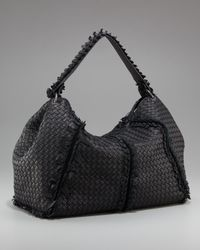 Bottega Veneta - Black Fringe-detailed Woven Hobo - Lyst
