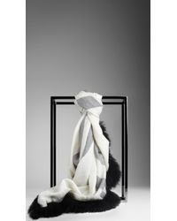 Burberry - White Fur Trim Check Scarf - Lyst