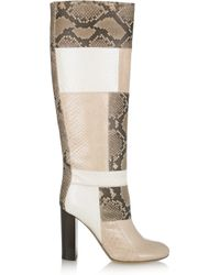 Chloé | Multicolor Patchwork Python Knee Boots | Lyst