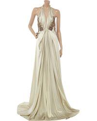 Emanuel Ungaro - Green Embellished Silk-satin Gown - Lyst