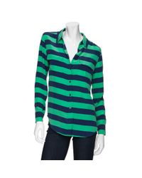 Equipment - Green Exclusive Slim Signature Striped Blouse - Lyst