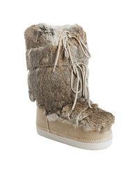 Fendi | Natural Suede and Rabbit Fur St. Mortiz Moon Boots | Lyst