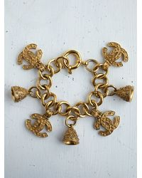 Free People - Metallic Vintage Chanel Charm Bracelet - Lyst