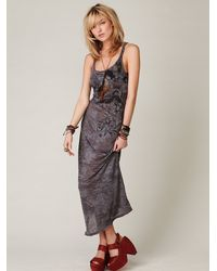 deb538d284edf Lyst - Free People We The Free Feathered Maxi Dress in Brown