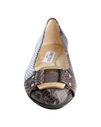 Jimmy Choo - Gray Grey Snake Embossed Patent Leather Morse Flats - Lyst