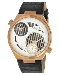 Kenneth Cole | Metallic Multifunction Leather Strap Watch for Men | Lyst