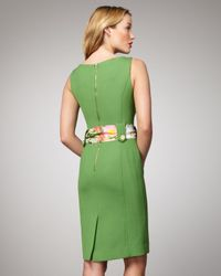 MILLY | Green Kalie Belted Sheath | Lyst