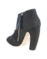 Miu Miu - Blue Charcoal Felted Wool Knotted Peep Toe Bootie - Lyst