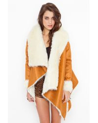 Nasty Gal - Natural Chelsea Shearling Coat - Camel - Lyst