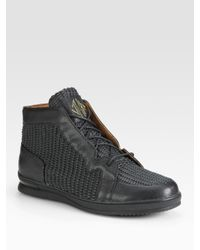 Jump | Black Leather Mid-Top Sneakers for Men | Lyst