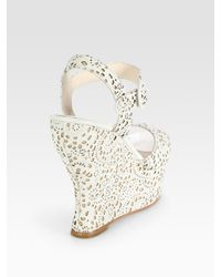 Alice + Olivia - Natural Jana Laser Cut Wedge Sandals - Lyst