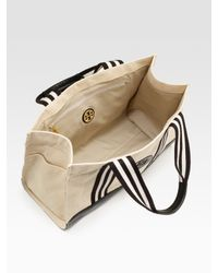 Tory Burch - Natural Tory Canvas & Leather Tote Bag - Lyst