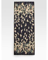 Valentino | Blue Silk Calla Lilies Scarf | Lyst