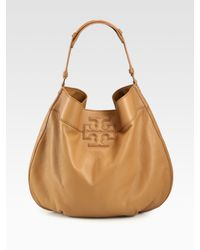 Tory Burch | Natural Logo-Stacked T Hobo Bag | Lyst