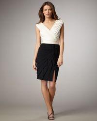 Tadashi Shoji | Black Colorblock Cap-sleeve Cocktail Dress | Lyst