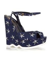 Saint Laurent | Blue Riviera Starfish-print Canvas Wedge Sandals | Lyst