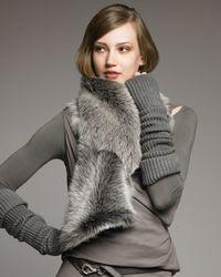 Donna Karan | Gray Shearling Loop Scarf | Lyst