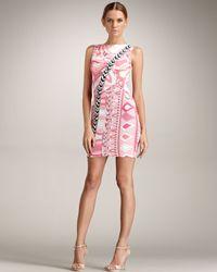 Emilio Pucci   Pink Sleeveless Asymmetric Border Dress   Lyst