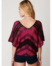 Free People | Black Colorblock Short Sleeve Sweater | Lyst