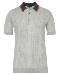 John Smedley | Gray Grey Cable Knit Polo Shirt for Men | Lyst