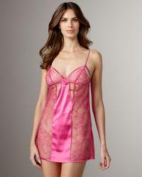 La Perla | Pink Satin-trim Sheer Lace Chemise | Lyst