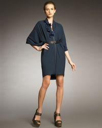 Lanvin   Blue Front-zip Cocoon Dress   Lyst