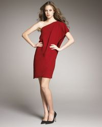 Badgley Mischka | Red One-shoulder Caftan Dress | Lyst