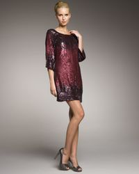 Badgley Mischka | Purple Sequin Ombre Shift Dress | Lyst