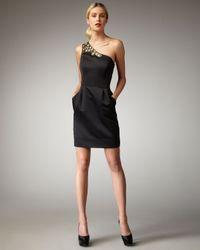 Shoshanna | Black Beaded One-shoulder Dress | Lyst