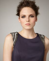 Shoshanna - Blue Bead-shoulder Party Dress - Lyst