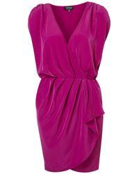 TOPSHOP - Purple Plain Drape Front Dress - Lyst