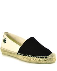 Tory Burch | Bi Color Slip On Espadrille - Black Canvas Closed Espadrille | Lyst